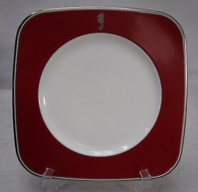 WATERFORD china SEAHORSE OCEAN RED Square Accent Salad or Luncheon Plate - 9""