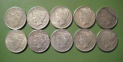 Lot of 10 Silver Peace Dollars