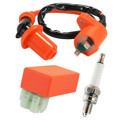 Ignition Coil Racing CDI Spark Plug For Gy6 50cc 125cc Scooter Orange MA1660