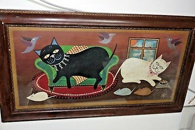 Very Interesting Old Folk Art Cat Painting - Louis Wain Interest - Signed - Rare