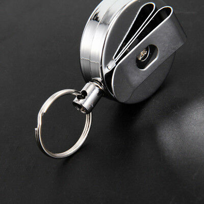 2PCS Stainless Silver Retractable Key Chain Recoil Keyring Heavy Duty Steel U RF