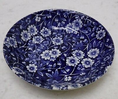 STAFFORDSHIRE china CALICO BLUE Crownford Stamp Fruit Dessert Berry Bowl 4-3/4""