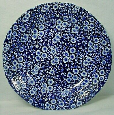 "STAFFORDSHIRE china CALICO BLUE Crownford Stamp Dinner Plate - 10-3/8"" crazed"