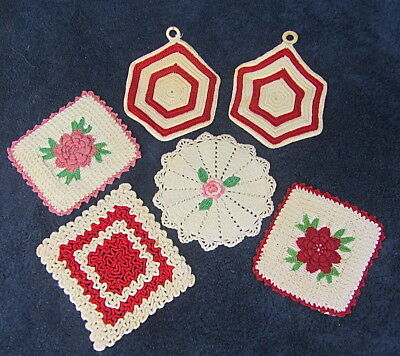 6 Vtg Hand Crocheted Pot Holder Hot Pad RED PINK Off White Lot