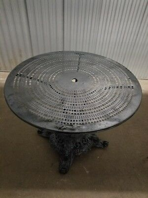 """French 19th Century Round Garden Table - Cast Iron Base - Metal Top 38""""D 28""""H"""