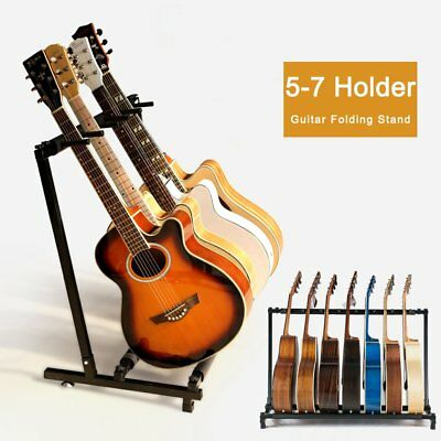 Stylish Guitar Stand Display Tidy Storage Rack Fit 5/7 Guitars Metal Padded Foam