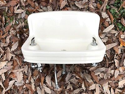 RARE Vintage CRANE PORCELAIN Double Bubbler DRINKING FOUNTAIN Schoolhouse DECO