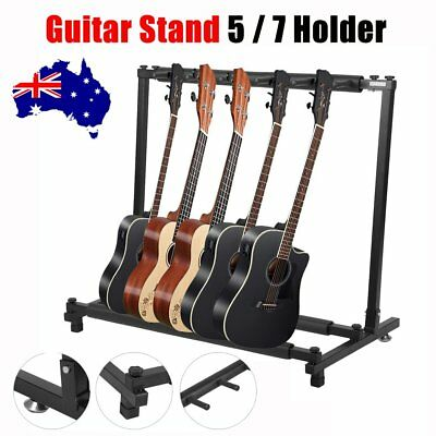 5 / 7 Guitars Rack Holder Stand Multiple Folding Acoustic Bass Display Storage B