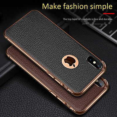 Deluxe Slim Real Leather Case Defender Cover For iPhone 7 8 Plus X XS Max XR