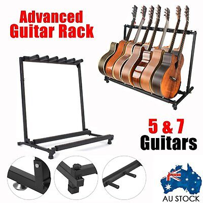 Stylish Guitar Stand Tidy Storage Rack Fits 5/7 Spaces Display Metal Padded Foam