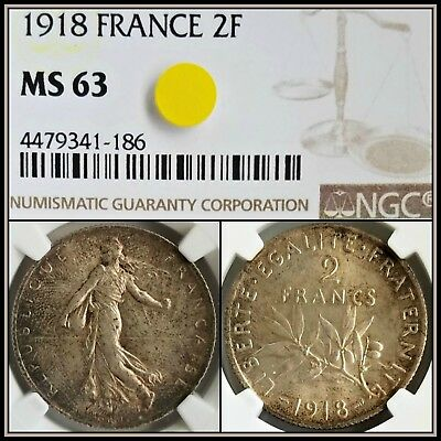 1918 Silver 2F France 2 Francs NGC MS63 Choice Unc Vintage French Classic Coin