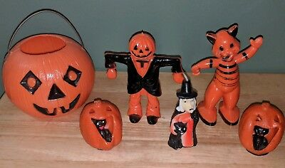 Vintage Halloween Candy Container/Candle Lot Rosbro Cat/Scarecrow Witch/Black Ca