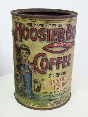 Rare Vintage Antique HOOSIER BOY Coffee Tin Advertising Can Paper Label