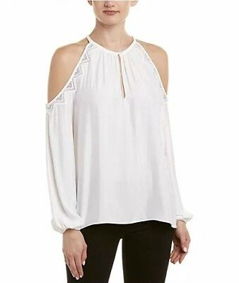8630f2745a2c2 Ramy Brook Women Size S Valia Top Ivory Lace Cold Shoulder Blouse  345 NEW