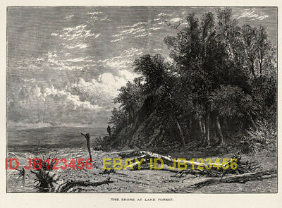 ILLINOIS Lake Forest, Chicago Area, 1870s Woodcut Print