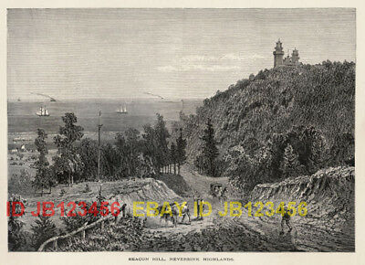 NEW JERSEY Beacon Hill Neversink, 1870s Woodcut Print
