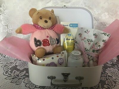 BABY GIFT HAMPER baby girl new baby shower pink teddy wrap blanket ++ Christmas