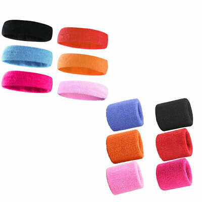 Wristbands Headband Sweatbands Sweat Band Cotton Sport Tennis Badminton Yoga