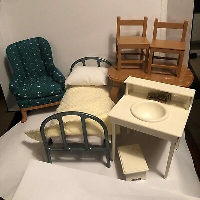 Madeline Doll House Furniture (Chair, Kitchen Table/2 Chairs, Bed, Sink