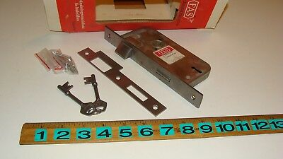Antique Vintage FAS Door Mortise Lock w/Skeleton Keys & Strike Plate -NIB
