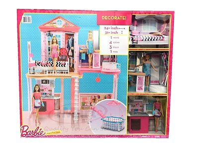 Barbie House With Glam Swimming Pool Includes 3 Barbie Dolls Kids Girls Toys