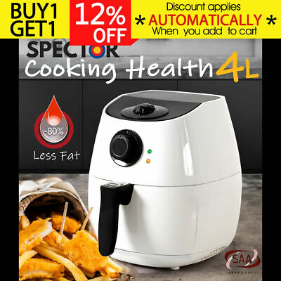 SPECTOR 4L Air Fryer Healthy Cooking Oil Free Low Fat Food Family Kitchen White