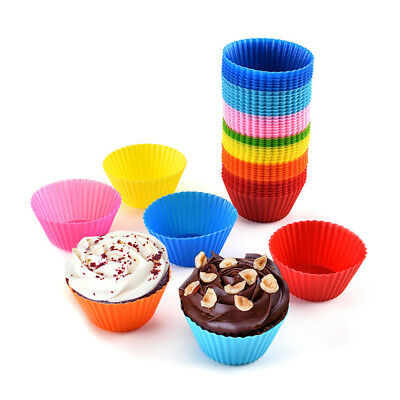 6X Silicone Round Cup Cake Muffin Cupcake Cases Baking Cup Baking Moulds Tools