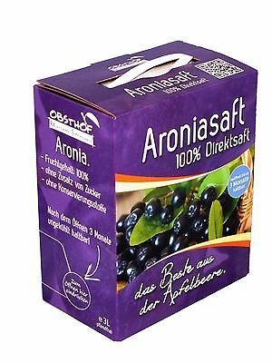 100% Aroniasaft   - Direktsaft -  3 Liter Bag in Box