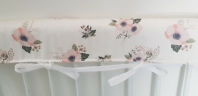 1 x Baby Cot Rail Cover / Crib Teething Pad. Floral Design. Cotton.