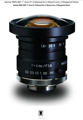 "Navitar nmv-6m1 6mm/f1.8 1"" format mega pixel locking screws camera lens"