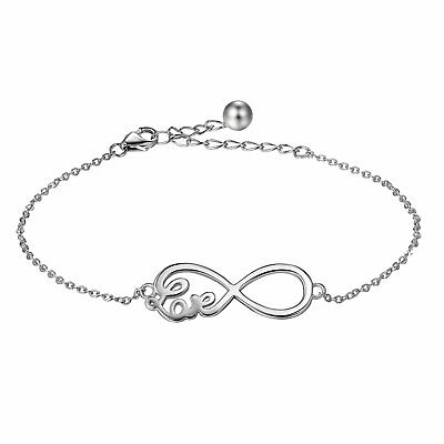 Womens 925 Sterling Silver Charm Infinity Endless Love Chain Bracelet Jewelry