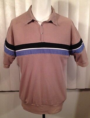 Vintage 1980s Tan Striped Extremes New Wave Shirt L Preppy Valley Girl Knit Polo