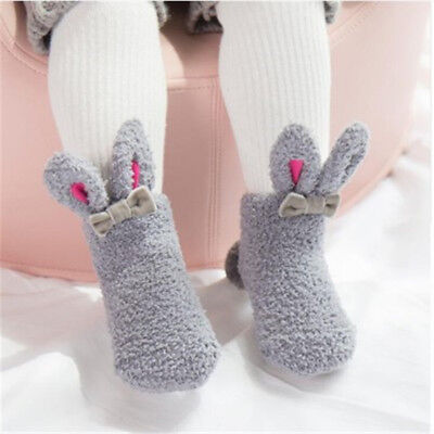 New winter cute girl bunny baby socks coral velvet thick three-dimensional