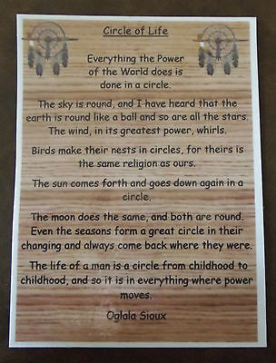 Native American Indian laminated A6 Circle of Life Prayer Saying