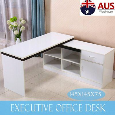 Executive Office Desk Gloss White Home Study Computer PC Table Corner Shelves