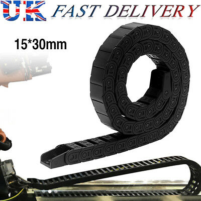 100cm 15 x 30mm R28 Semi Closed Black Long Nylon Cable Drag Chain Wire Carrier