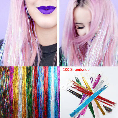 100 Strands Hair Tinsel Bling Silk Hair Flare Strands Glitter Rainbow Hair Decor