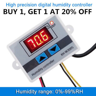 W3005 DC 12/24V  220V LED Digital Humidity Controller Hygrometer Switch Sensor R