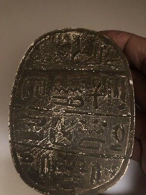 Rare Large Ancient Egyptian Scarab Middle Kingdom With Queen On Front (2000 BCE)