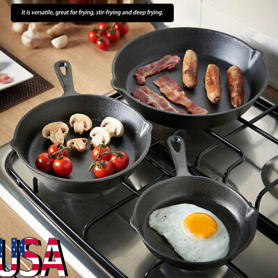 3pcs Cast Iron Skillet Cooking Fry Pans Cookware Set Cookware Pots Household Kit
