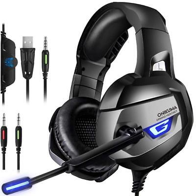 UK Gaming Headset for Xbox One Switch PS4 3.5MM Headphone ONIKUMA MIC USB LED