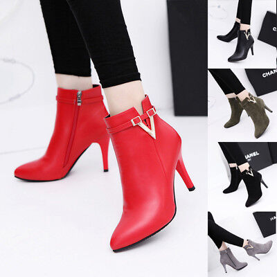 Women Shoes Ankle Boots Zipper Thin High Heels Bling Letter Leather Pointed Toe