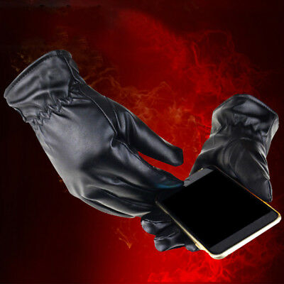 Mens Real Leather Gloves Thermal Lined Driving Soft Warm Winter Touch Screen