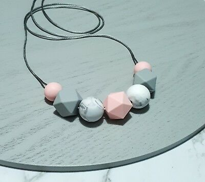 Silicone Sensory (was Teething) Necklace Pink Marble Grey Beads Gift For Mum