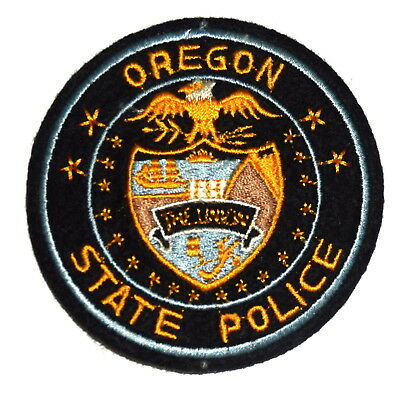"""OREGON STATE POLICE OR Sheriff Police Patch VINTAGE OLD MESH CUT EDGE FELT 3"""" ~"""