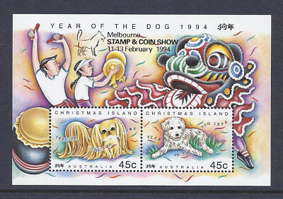 1994 Christmas Island Stamps - Year of Dog - Mini Sheet-Melbourne Overprint MUH