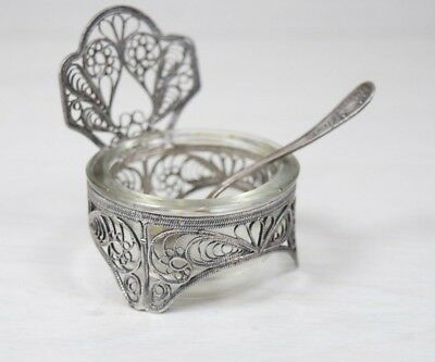 Vintage Russian Silver Filigree & Glass Caviar Bowl Cup with Spoon Handmade