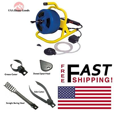 Cable Drum Machine 50 ft. Plumbing Snake Auger Drain Sink Clog/Block Cleaner