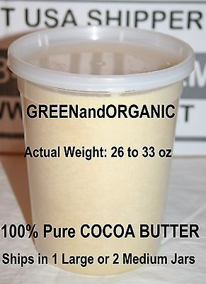Raw Cocoa Butter 100% Organic Pure Natural Unrefined Virgin Cacao 2 Lb/32oz/907g
