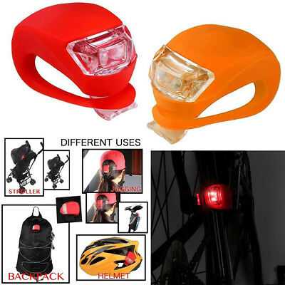 2PCS LED Silicone Mountain Bike Bicycle Front Rear Light Set Push Clip Lamp New